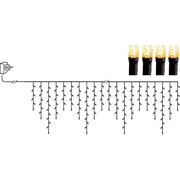 LED Lichtvorhang - Serie LED - outdoor - 480 ultra warmweiße LED - L: 11,9m, H: 55cm - schwarzes Kab