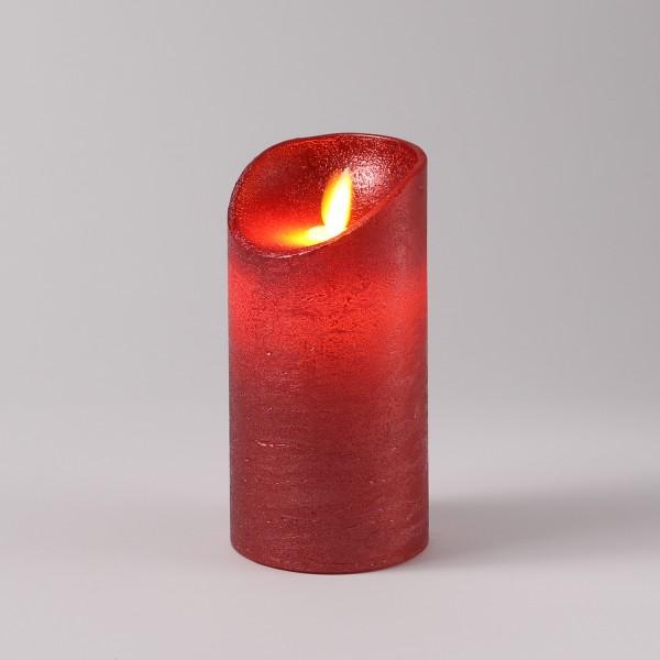 LED Kerze M-Twinkle - Echtwachs - bewegliche Flamme - Auspustfunktion - Timer - H: 15cm - rot