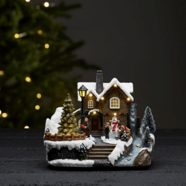 """LED-Weihnachtszene """"Brighton"""" - 8 warmweiße LED - H: 16,5cm - Batteriebetrieb - Timer - bunt"""