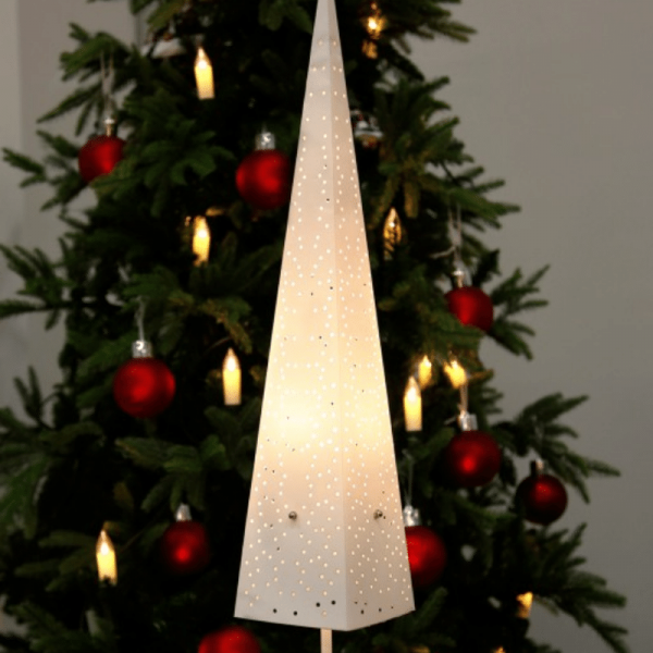 "Dekoleuchte ""Dot "" - Pyramide - stehend - H: 80cm - E14 Fassung - inkl. Kabel - creme"