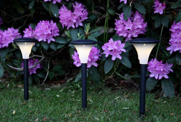 LED-Solar-Wegleuchte - 3er Set - schwarz - warmweiße LED - H: 26cm - D: 11cm - Dämmerungssensor