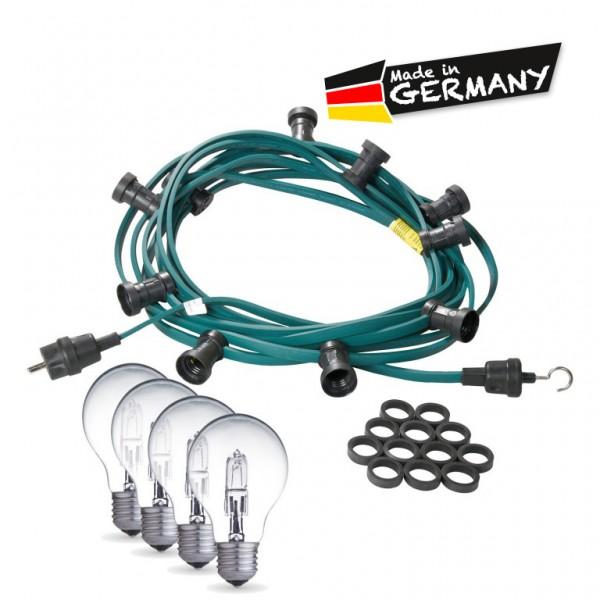 Illu-/Partylichterkette | E27-Fassungen | Made in Germany | mit weißen Glühlampen | 10m | 20x E27-Fassungen