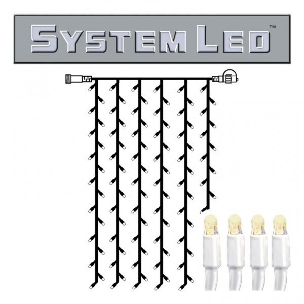System LED White | Lichtvorhang | koppelbar | exkl. Trafo | 1.00m x 2.00m | 102x Warmweiß