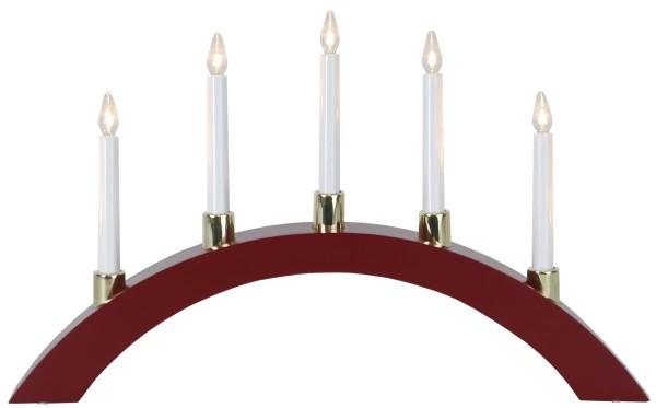 LED-Lichterbogen HALLA - 5 warmweiße LEDs - L: 55cm, H: 33cm - Holz - Schalter - Rot