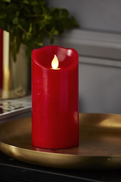 LED Stumpenkerze TWINKLE, rot - H: 15cm - D: 7,5cm - Timer - bewegte, warmweiße LED Flamme