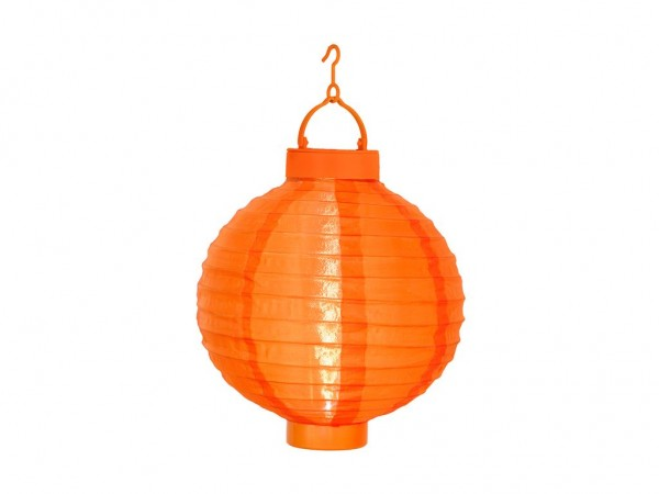 Solar-Lampion orange - LED Automatik bei Dunkelheit - D: 20cm - mit Montagehaken