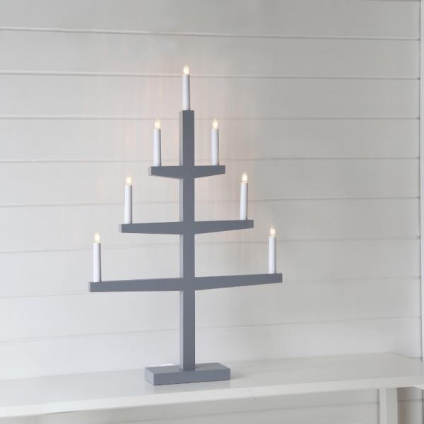 """Kerzenleuchter """"Tripp"""" - 7 Arme - warmweiße Glühlampen - H: 77cm, L: 49cm - Schalter - Grau"""