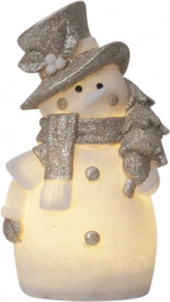 "LED-Figur ""Buddy"" - Schneemann - weiss/silber - 4 warmweiße LEDs - ↑25cm"