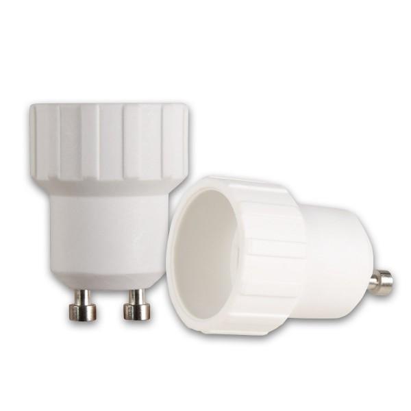 Lampensockel Adapter für Leuchtmittel - Porzellan - max 100W - GU10 auf E14