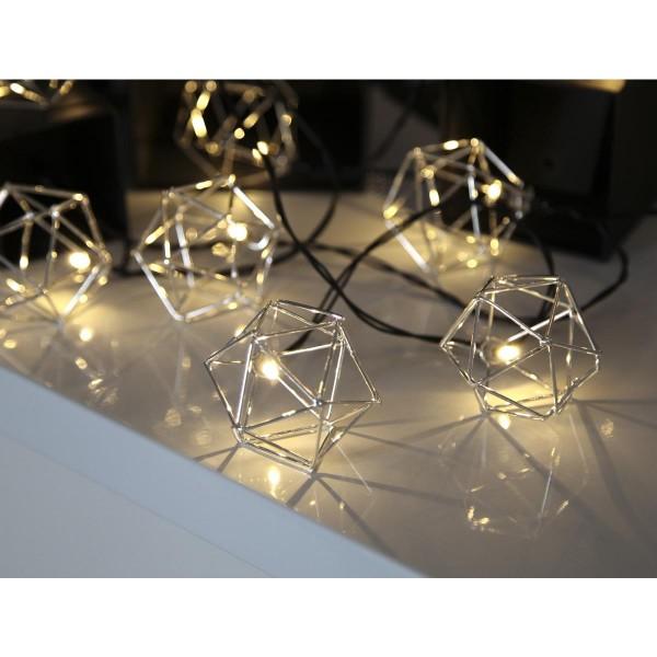 """LED-Lichterkette """"Edge"""" SILVER - 10 warmweiße LED - 2,25m - schwarzes Kabel - Trafo"""