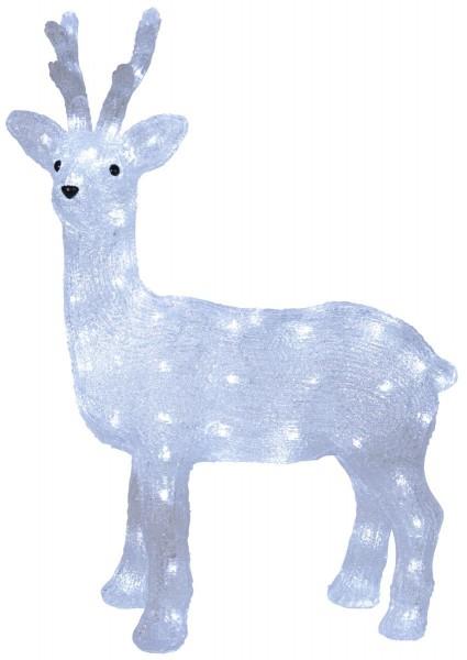 """LED-Acrylrentier """"Crystal Deer"""" - 80 kaltweiße LED - stehend - H: 64 cm - outdoor"""