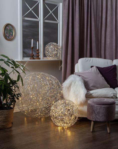 LED 3D Designkugel 77cm - aus Silberdraht mit 200 warmweißen LEDs - indoor&outdoor