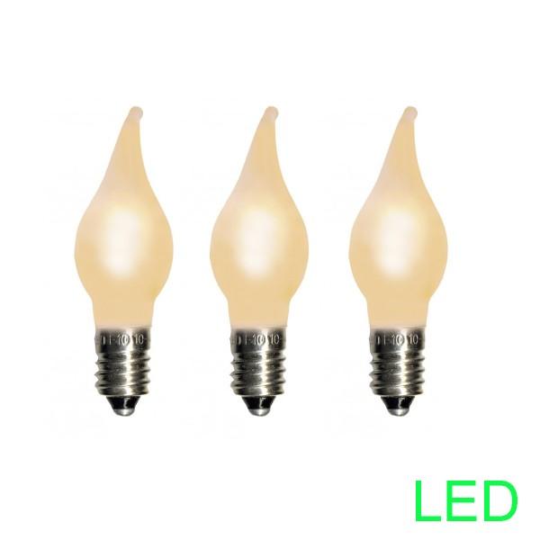 LED-Ersatz-Leuchtmittel - E10 - 10-55V - 0,2W - Warmweiß 2100K - Tropfen-Form - 3 Stück