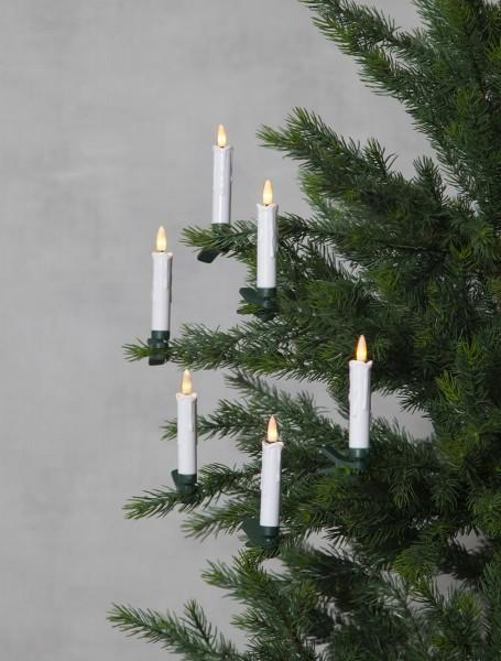 Baumkerzen-Set 10er - warmweiße LEDs - Fernbedienung - Timer - H: 10,5cm - D: 1,5cm