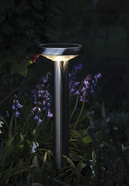 "LED-Solar-Wegleuchte ""Sevilla"" - Edelstahl - warmweiße LED - H: 45cm - D: 16cm - Dämmerungssensor"