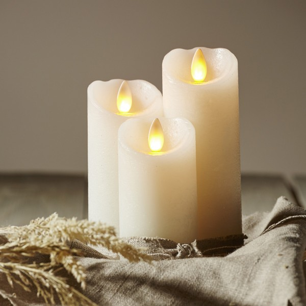 LED Kerze GLOW - Echtwachs - gelbe flackernde LED - Timer - H: 12,5cm, D: 5,5cm - weiß