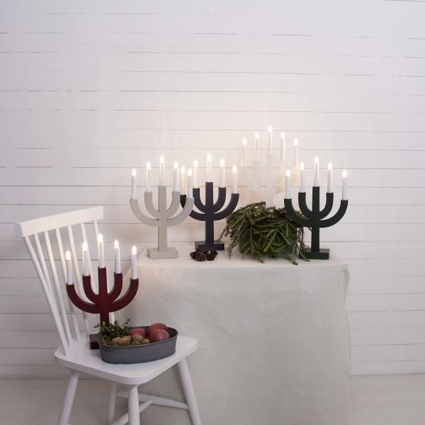 """Kerzenleuchter """"Selma"""" - 5 Arme - warmweiße Glühlampen - H: 40cm, L: 25cm - Schalter - Mittelgrau"""