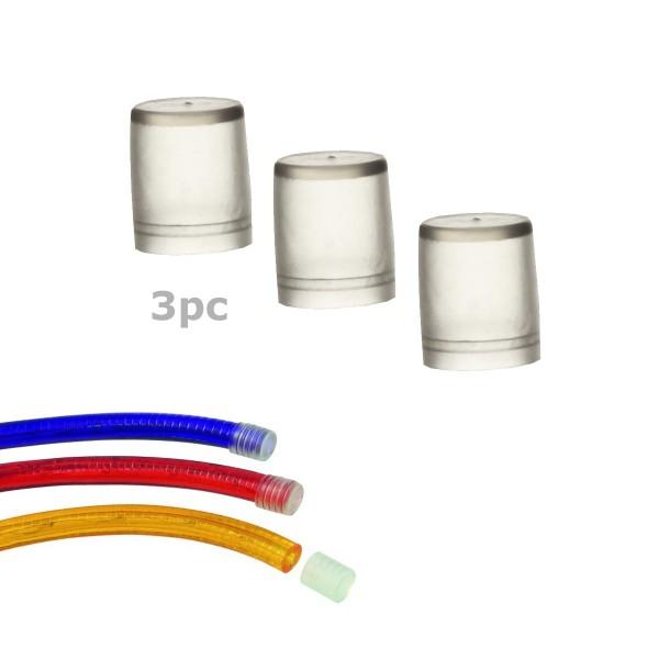 Endkappen für Lichtschlauch (12-13mm) - 3 Stück - transparenter Kunststoff - 1,5x1,8cm