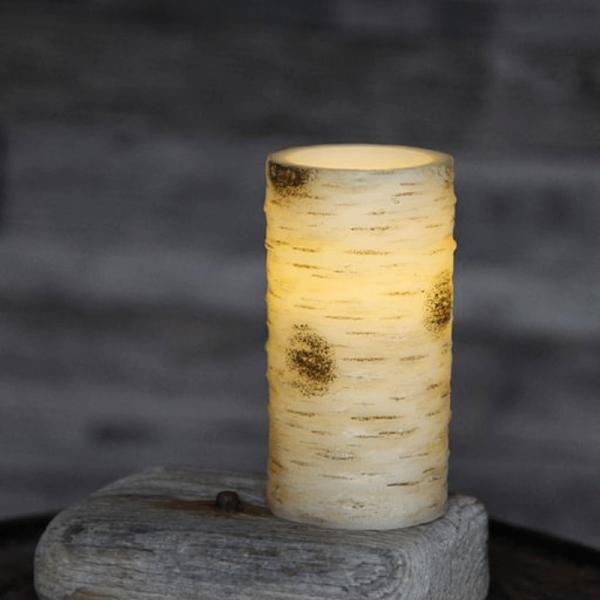 LED-Kerze | Echtwachs | Birkendesign | flackernde LED | Timer | Weiß | ↑15cm