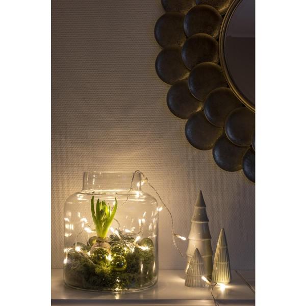 Micro LED Lichterkette - gefrostet - 100 bernsteinfarbene LED - L: 6,93m - transp. Kabel - Indoor