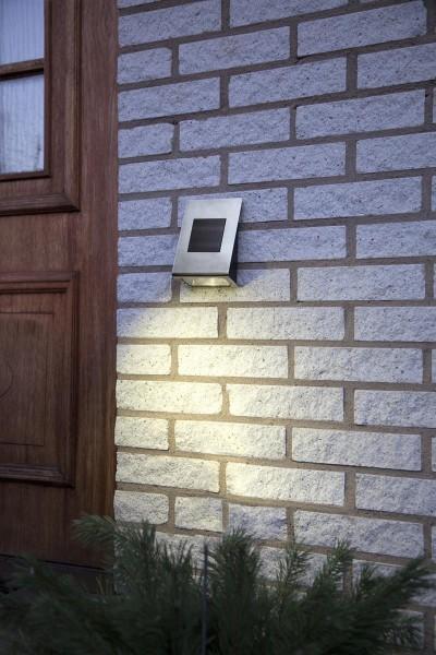 "LED-Solar-Wandleuchte ""Wally"" - Edelstahl - warmweiße LED - 18,5x13x6cm - Dämmerungssensor - 20lm"