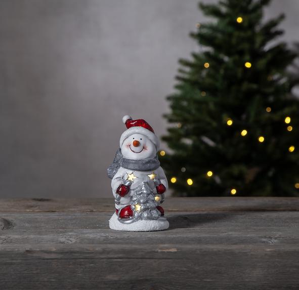 "LED Keramik Figur ""Friends"" - Schneemann - 1 warmweiße LED - H: 15cm - Batteriebetrieb"