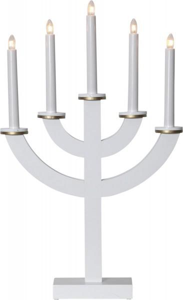 """Kerzenleuchter """"Toarp"""" - 5 Arme - warmweiße Glühlampen - H: 53cm, L: 33cm - Schalter - Weiß/Gold"""