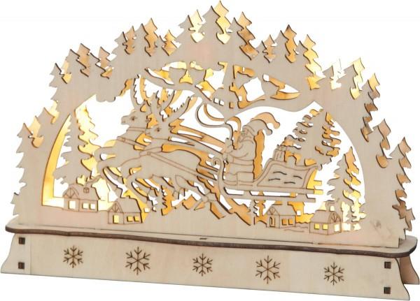 """LED-Fensterleuchter """"Oberhof"""" 9 warm white LED, batteriebetrieben Rentiere/Schlitten, ca. 22 x 15 cm, Vierfarb-Karton"""