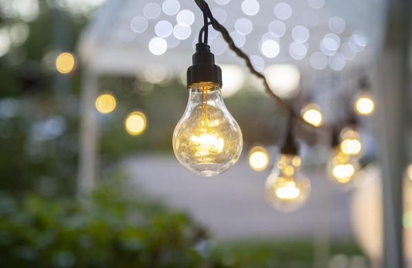 System LED Black - Lichterkette 10fach - erweiterbar - schwarzes Kabel - warmweiße LED Lampen - IP44