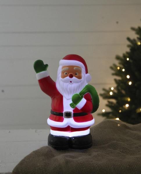 LED-Steckfigur Santa - 5 kaltweiße LEDs - H: 28cm - Timer - batteriebetrieben - outdoor