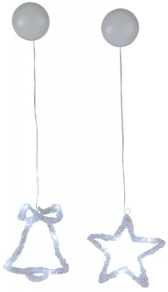 """LED-Fensterdeko """"Iceglow"""" - Stern/Glocke - je 6 kaltweiße LED - 2er Set - kristallines Acryl"""