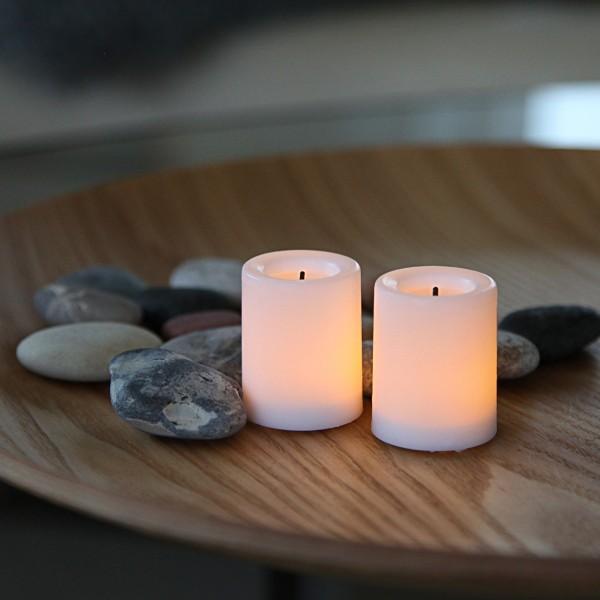 LED Teelichter WAXY - Echtwachs - flackernde LED - H: 4,5cm, D: 3,8cm - Batteriebetrieb - 2er Set