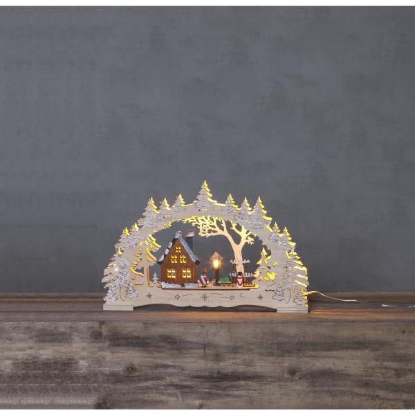 """LED Fensterleuchter """"Ulm"""" - 10 warmweiße LED - Holz - H: 27cm, L: 43cm - Batterie & Trafo - natur"""