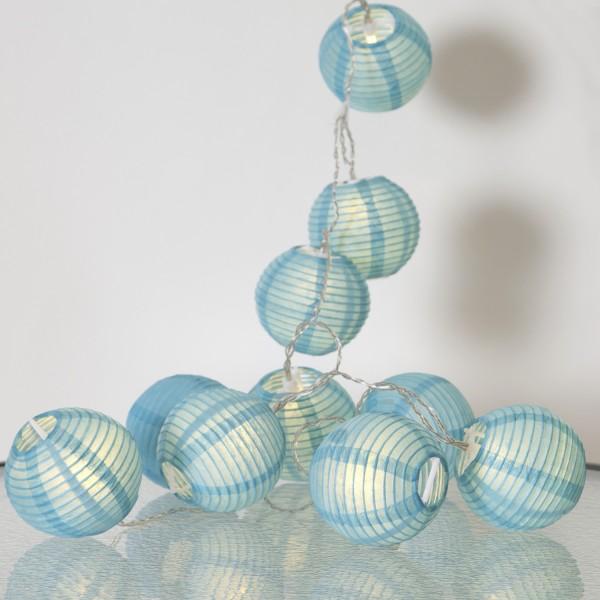 LED Lichterkette Festival- 10 blaue Lampions - warmweiße LED - 1,35m - inkl. Trafo - für Innen