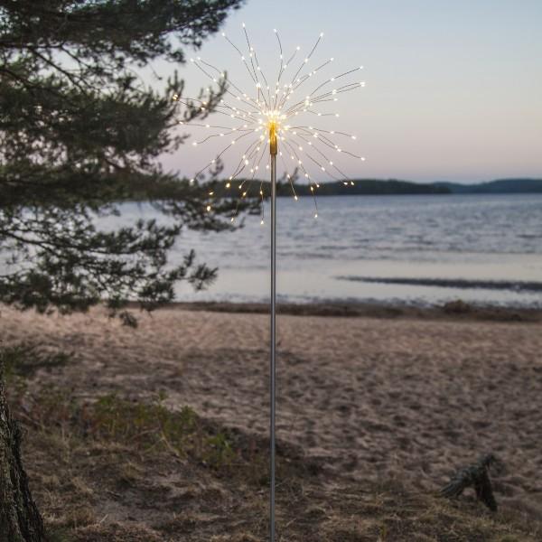 LED Dekostab FEUERWERK - H: 110cm - 160 kleine daylight LED - inkl. Trafo - outdoor - silber