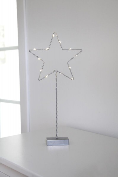 "LED-Standleuchte ""Drahtstern"" -12 warmeiße LEDs - H: 43cm - Metall - Batteriebetrieb - silber"