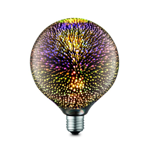 LED Dekoleuchtmittel GLOBE FX multicolor - G125, E27, 4W, 20lm, 2200K