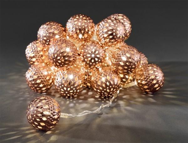 LED-Dekolichterkette - 3,00m - 24x Warmweiß - Ø 4cm - Bronze - transparentes Kabel