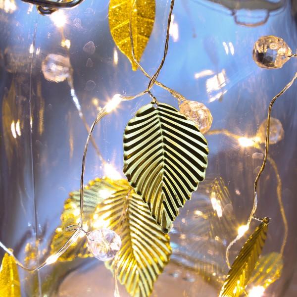 LED Drahtlichterkette mit goldenen Blättern und Perlen - 20 warmweiße LED - Batterie - L: 1,37m