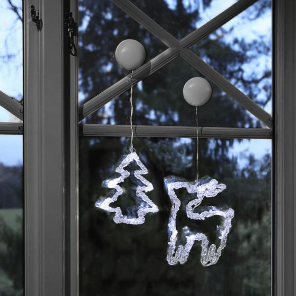 """LED-Fensterdeko """"Iceglow"""" - Stern & Glocke - je 6 kaltweiße LED - 2er Set - kristallines Acryl"""