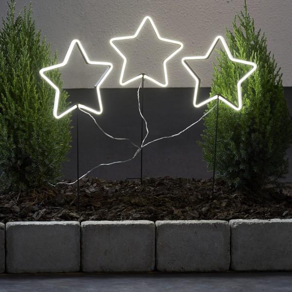 LED Lichtersterne Neonstar - H: 60cm - 216 weiße LED - 8 Funktionen - Outdoor - 3er Set - weiß