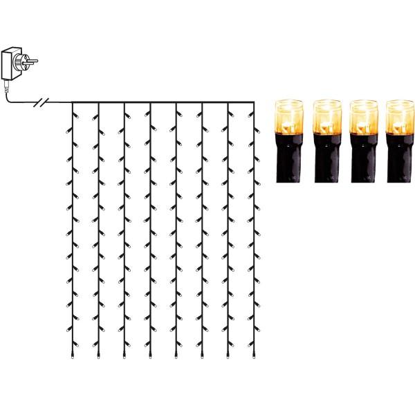 LED Lichtvorhang - Serie LED - outdoor - 120 ultra warmweiße LED - L: 1,3m, H: 2,0m - schwarzes Kabe