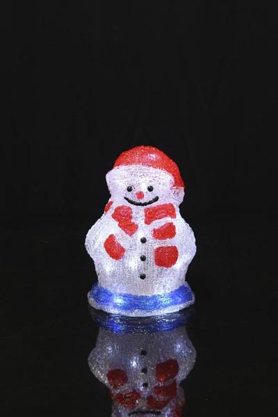 "LED-Acrylschneemann ""Crystal Snowman"" - 16 kaltweiße LED - H: 20,5cm - Timer - batteriebetrieben"