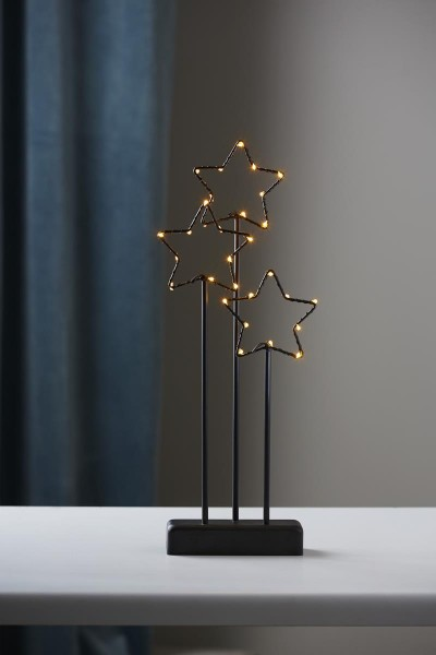 "LED-Deko-Leuchte ""Starry"" - 30 warmweiße LED - H: 40cm - Material: Metall - schwarz"