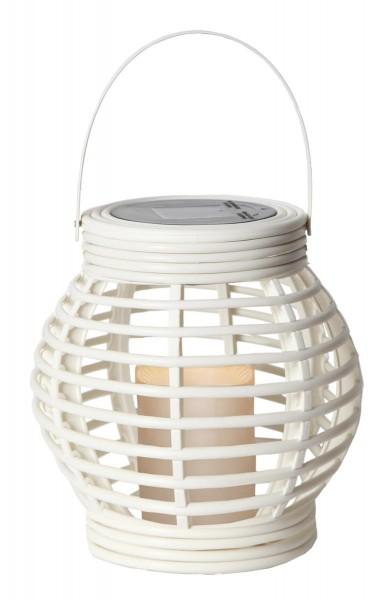 "LED-Solar-Laterne ""Rotang"" - weiss mit warmweißer LED - 16x16x16cm - Dämmerungssensor"