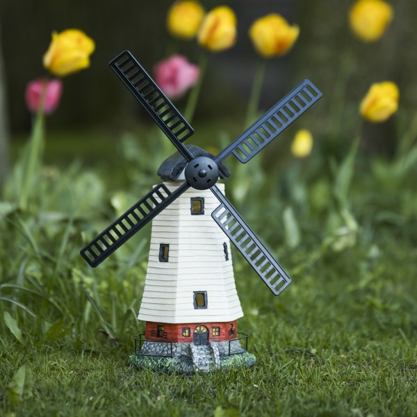 LED Solar Windmühle - Gartendekoration - 2 gelbe LED - H: 51cm - Dämmerungssensor