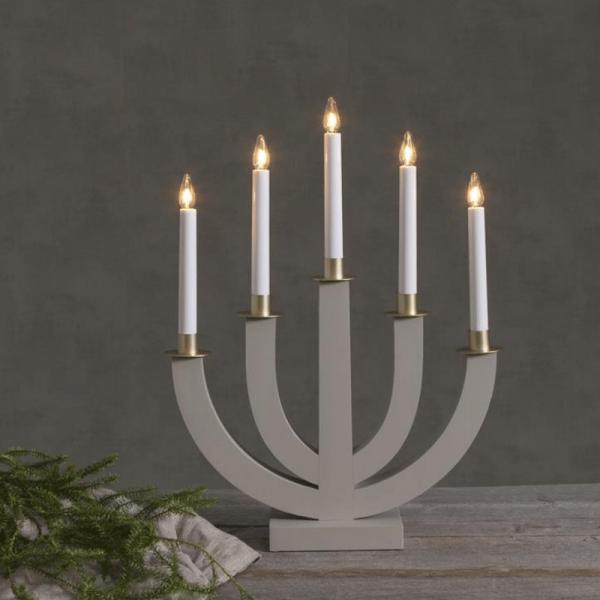 """Kerzenleuchter """"Eli"""" - 5 Arme - warmweiße Glühlampen - H: 47cm, L: 37cm - Schalter - Beige/Gold"""