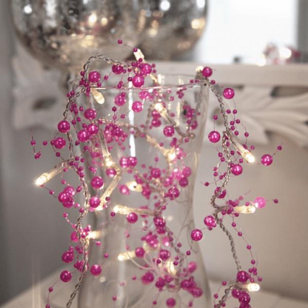 LED Lichterkette mit Perlen - 20 warmweiße LED - 1,15m - Batteriebetrieb - Timer - pink