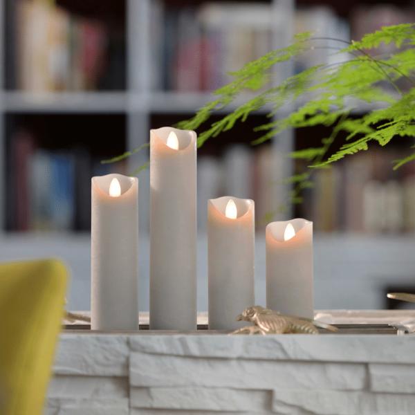 SOMPEX LED Wachskerze SHINE schmal | grau | gefrostet | D: 5cm H: 15cm | fernbedienbar | Timer