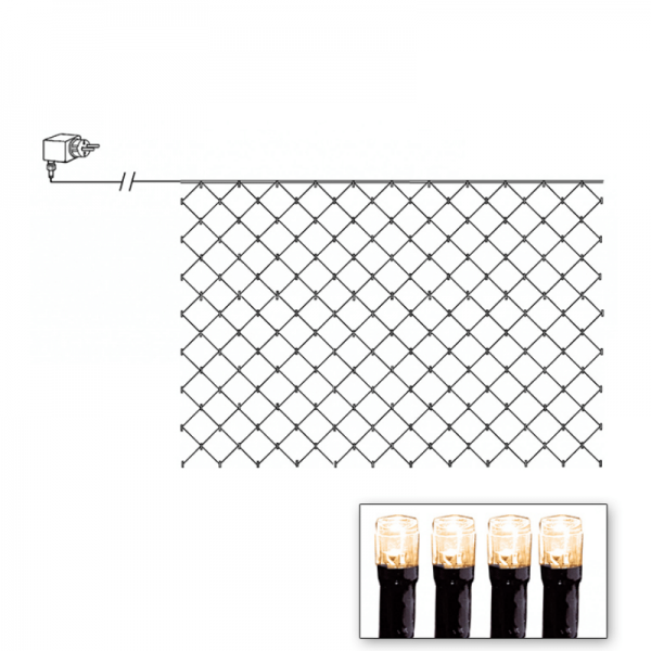 LED Lichternetz - Serie LED - outdoor - 180 warmweiße LED - 3.00m x 3.00m - schwarzes Kabel